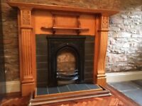 Victorian Edwardian fireplace and carved oak fire surround