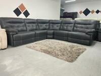 Brand new real leather electric recliner corner sofa