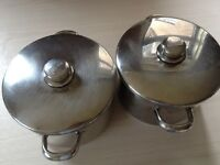 Stellar 5 litre stockpots and set of similar House of Fraser pans and frying pan for sale