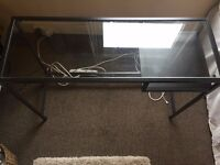 BLACK METAL DESK WITH GLASS TOP/ Very stylish and practical/Fits into almost every space!