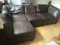 Corner Leather Sofa Brown