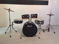 Pearl Rhythm Traveler, Jet Black Drum Kit