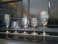 GLASSWARE, various assortment-- good condition **CHARITY SALE**