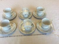 Set of 6 Crown Ming Fine China Tea Cups and Saucers - Jian Shiang