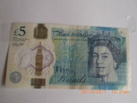UK £5 current bank note - serial number AD04-302481.