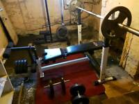 Olympic weights with bench and lat pulldown