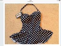 poker dot swimming costume - new