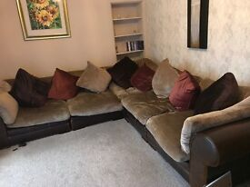 lesther corner sofa (brown) with velour cushions and footstool