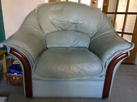 Leather Suite -Sage Green -Good Condition