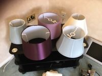 Beautiful faux silk lampshades in purple ,duck egg, mauve and cream