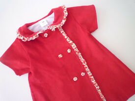 Cherry corduroy dress (size 6 months)