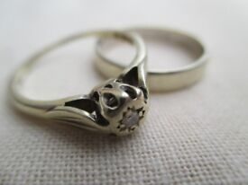 White gold engagement ring and wedding ring for sale. Both are 9 carat gold, size N