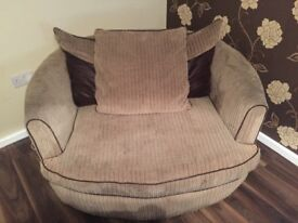 3 seater sofa & matching swivel chair