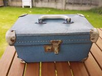 Vintage blue box shaped vanity case