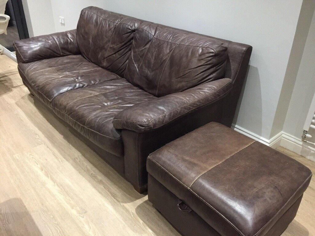 Tremendous Dark Brown Dfs 3 Person Leather Sofa Pouf In Cambridge Cambridgeshire Gumtree Ncnpc Chair Design For Home Ncnpcorg