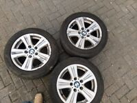 """Genuine 16"""" BMW complete set of 4 alloy wheels with tyres"""