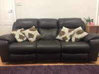 2 Used DFS Leather Recliner 3 Seater Sofa - Brown in Good condition. open to offers