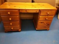 Pine Desk with 7 Drawers
