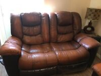 Reclining Leather Brown Sofas