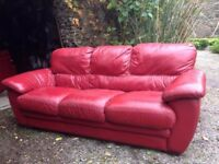 Red Leather Italian settee 3,2 & 1