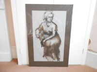Female Figure Seated - Oil on Paper - 1940s