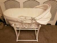 Clair de lune Rocking Moses Basket with Mothercare stand