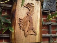 Garden wall plaque, new hand carved by me , icarus