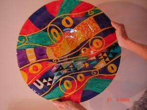 Large Vibrant Colored Hand Painted Glass Bowl - A Piece of Art!
