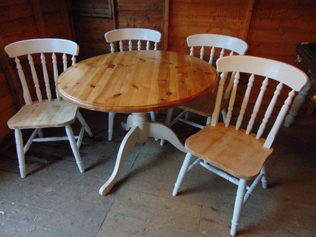 shabby chic solid pine pedestal dining table in leicester pi