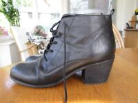OFFICE ladies black leather ankle boots size 7-7.5 with 6.5cm heel, lace-up