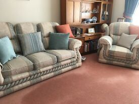 3 Piece suite in Duck Egg Blue and Beige, Ex.cond.Washable covers, arm covers, Fire warning labels