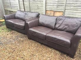 2x leather sofas 2 seater
