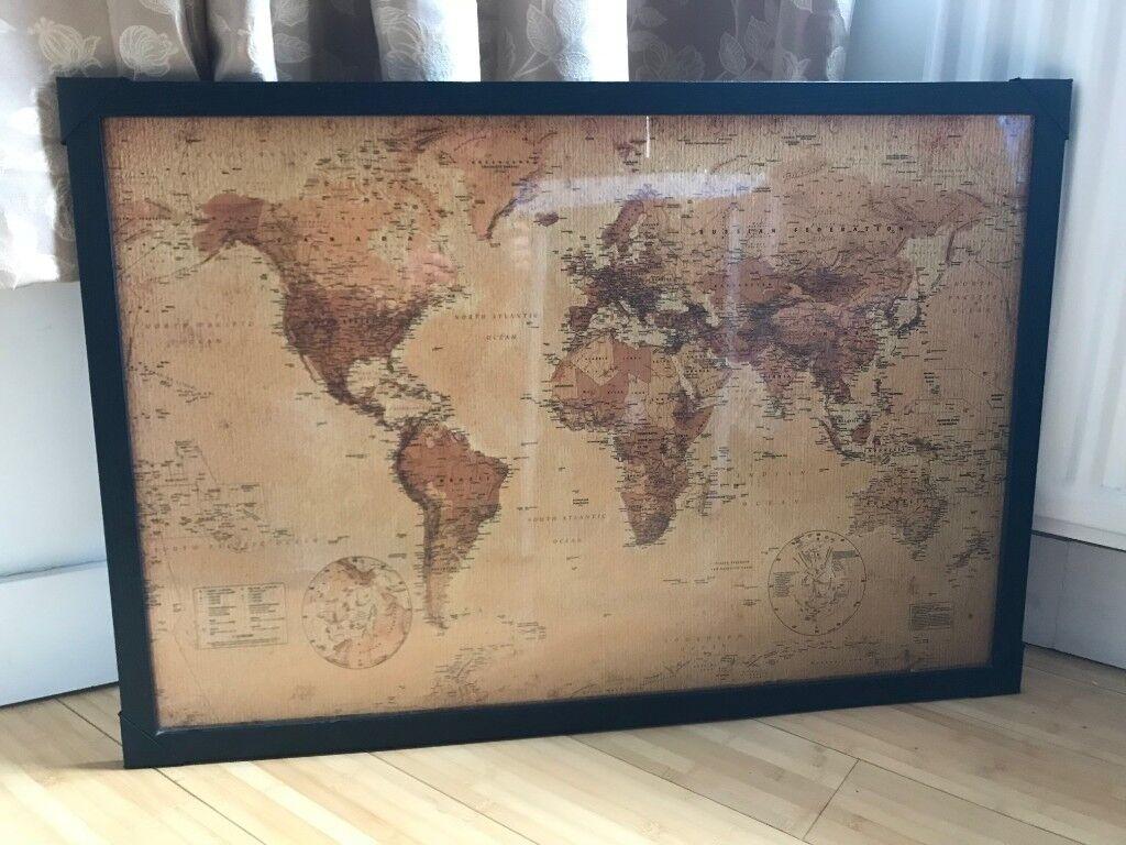 Black Poster Frame 61cmx91 5cm Rrp 16 World Map Not