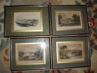 Four Cornish hand Coloured Engravings
