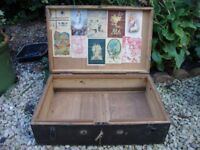 Vintage,Timber Box,With Original Lock And Key. 22 x 14 x 7 Inches.
