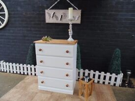SOLID PINE CHEST OF DRAWERS PAINTED WITH LAURA ASHLEY PALE DOVE