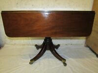 Antique side table, dropleaf, brass castors, dining table seats four, twin drawers, Wells BA5