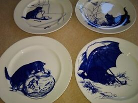 4 National Trust plates, replicas of the Cat plates in the servants hall at Kingston Lacey, Dorset.