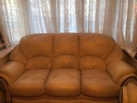 BARGAIN !! 1 x 3 Seater, 1 x 2 Seater and 2 x 1 RECLINING Seater White Leather Sofas - Used £300