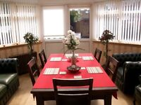IKEA black/brown dining table and 6 chairs