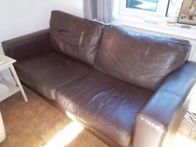 COLLECT NOW - FREE!! BROWN LEATHER 2 & 3 SEAT SOFA SETTEES - WELL USED - FREE TO GOOD HOME!
