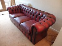 Chesterfield Oxblood SCS leather suite - 3 seater and 2 seater sofas + 2 footstools