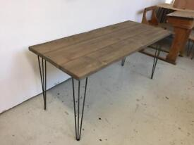 Distressed oak industrial reclaimed wood table with steel hairpin legs