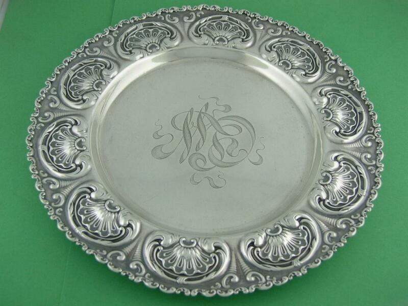 """Sterling WHITING 8 1/4"""" Dish / Plate / Tray ~ Aesthetic scroll & shell pattern"""