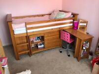 Julian Bowen Children's Cabin Bed with desk/drawers/dresser and small wardrobe.
