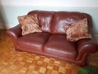 3 Seater Sofa Real Leather Tan VGC
