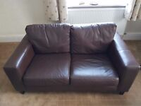 LEATHER SUITE - 3 SEATER + 2 SEATER SETTEES - BROWN
