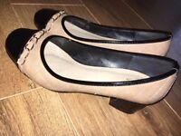 Good condition Womens beige quilted black block heel flats. Size UK 5, EU 38