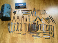 Various Old hand Tools and tool box