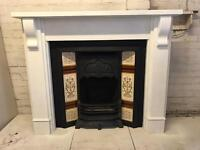 Beautiful Restored Cast Iron Fire Place With White Pine Surround